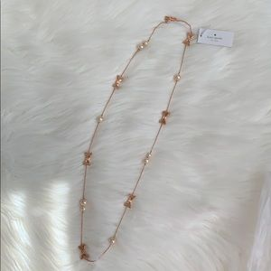 Kate Spade all wrapped up pearls bow necklace rose